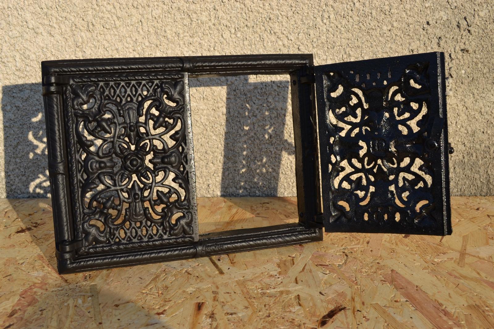 Porte de four po le bois ofent r fonte fumoir le grille for Porte avec grille de ventilation